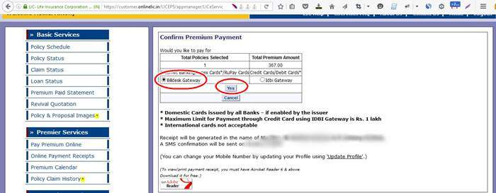 Online Payment-LIC-Confirmation