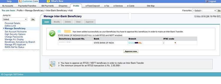 Approve beneficiary Online SBT