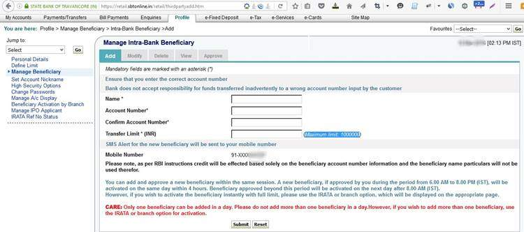 Add intra Bank -with SBT account beneficiary