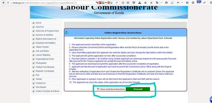 Online Labour Registration Instructions
