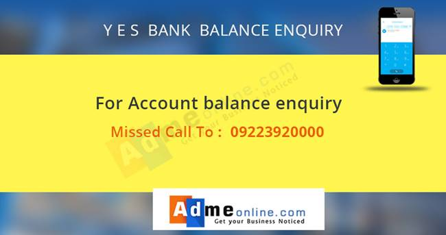 Yes Bank Balance Enquiry Number
