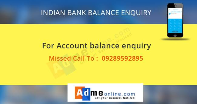 Indian Bank Missed call banking Number