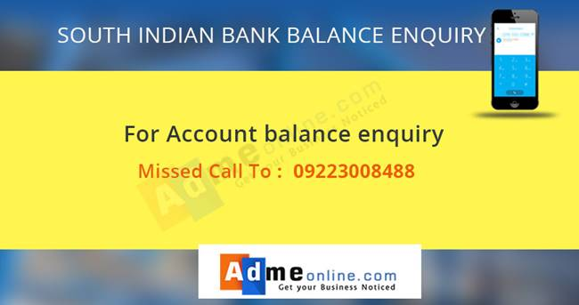 South INdian Bank Missed Call Banking Number