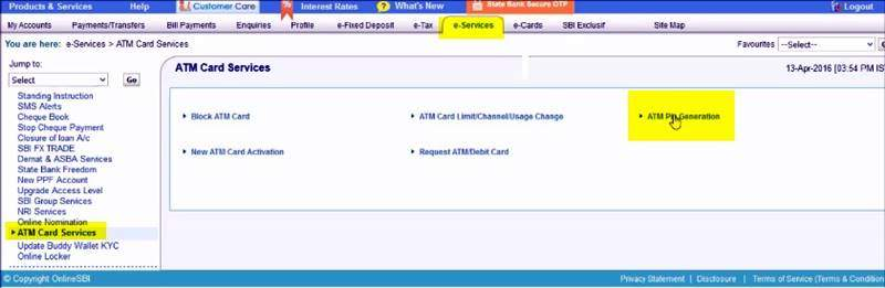 how to change atm pin online