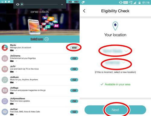 Open MyJio,Select your location