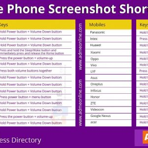 Mobile Phone Screenshot Shortcuts