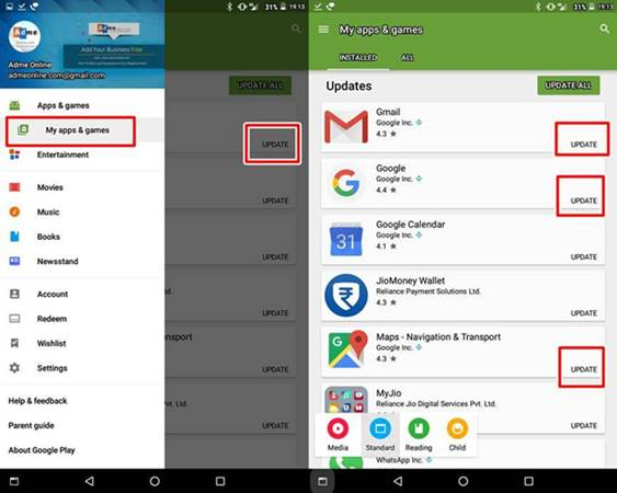 How to manually update apps in Google Play store