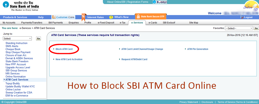 How To Block Sbi Atm Card Online Block By Sending Sms
