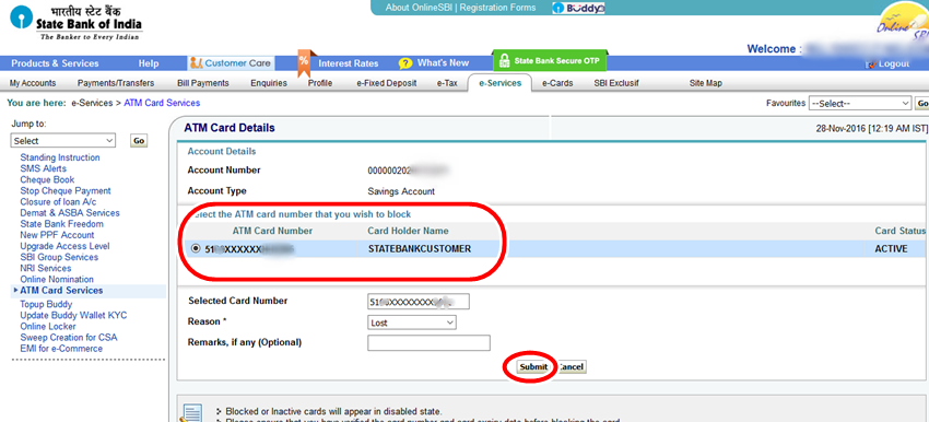 Select SBI ATM card to block