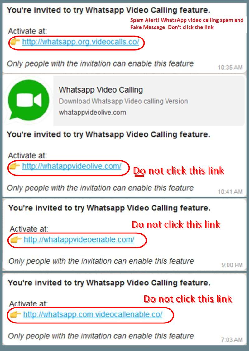 Whats App Video Calling Spam Message