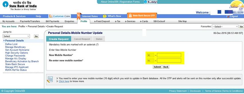 Change SBI Mobile number online