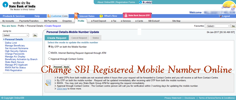 how can i change my mobile number in sbi bank account