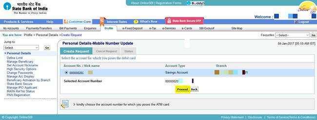 Select the account with the debit card