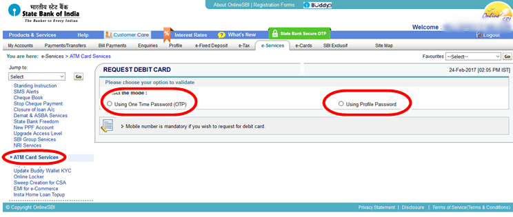 Apply New ATM Debit Card - Option-Validate