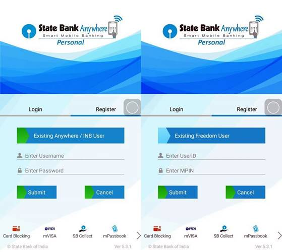 Existing Customer - Freedom user Login-Statebank Anywhere APP-