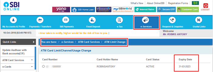 how to know sbi debit card expiry date
