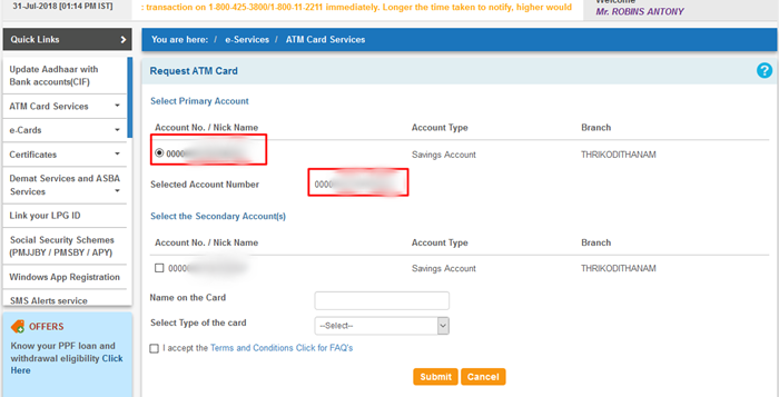 Select new SBI ATM card Type
