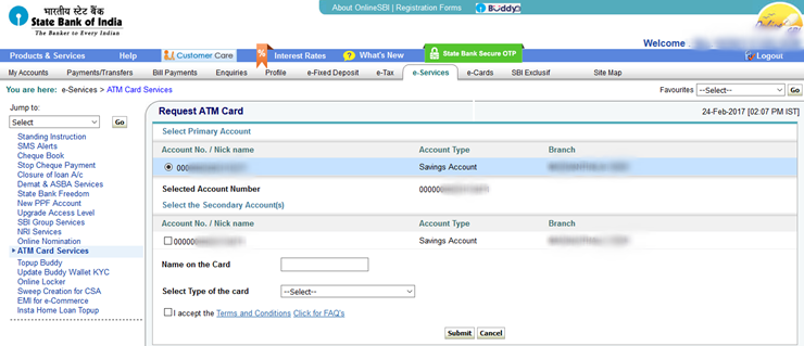 Select Primary SBI Account