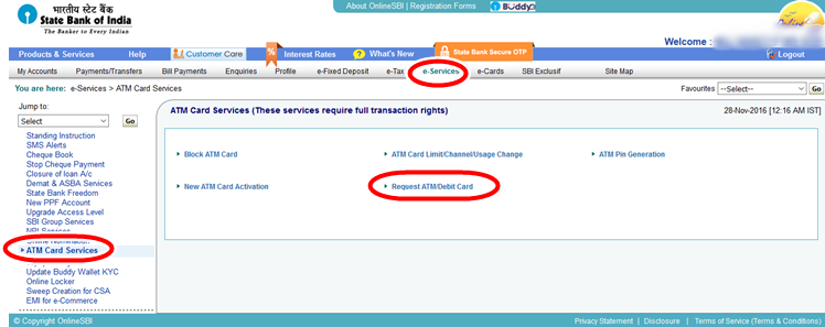 e-services-atm-card-services-SBI-apply-new-atm-debit-card-online