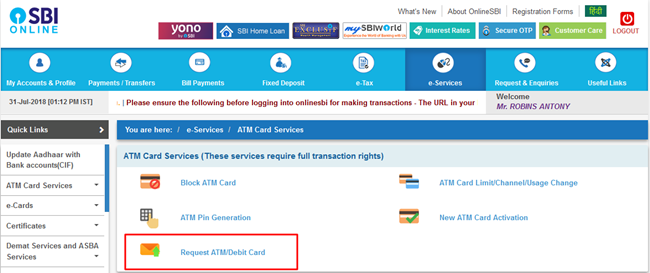 Request new SBI ATM Card