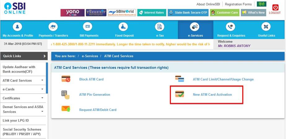 New ATM Debit Card Activation Online
