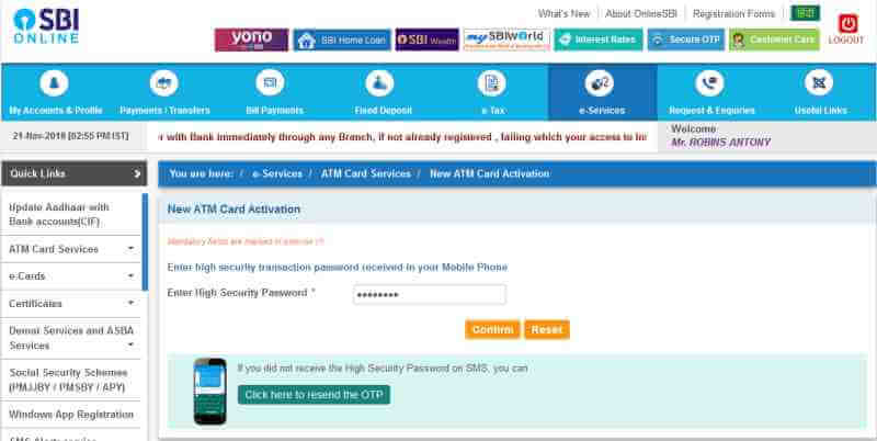 SBI ATM Card activation Online Confirmation