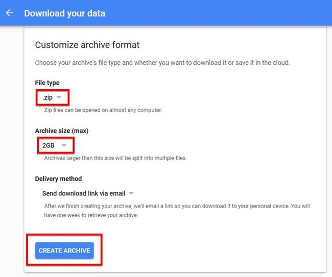 Customize archive file format