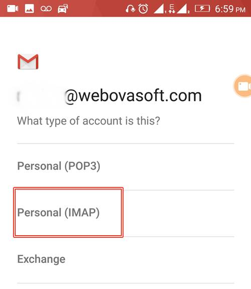 Seelct Account Type Pop3 or Imap
