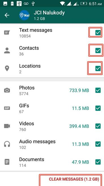 WhatsApp Clear Messages - Remove selection