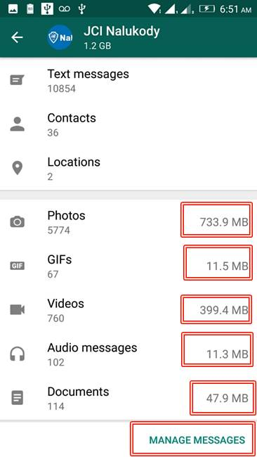 WhatsApp Manage Messages - Storage Usage