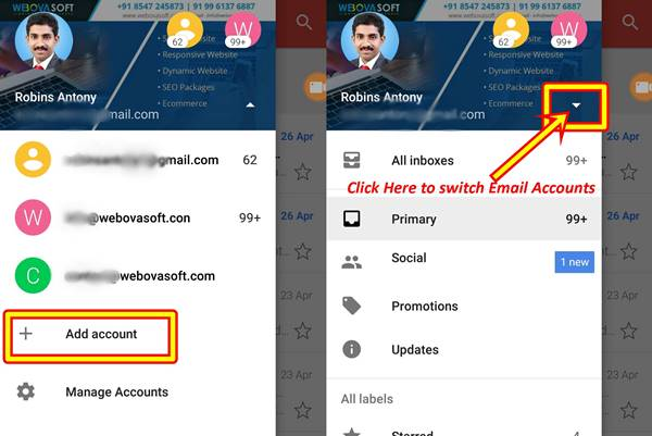 how to switch gmail accounts on android