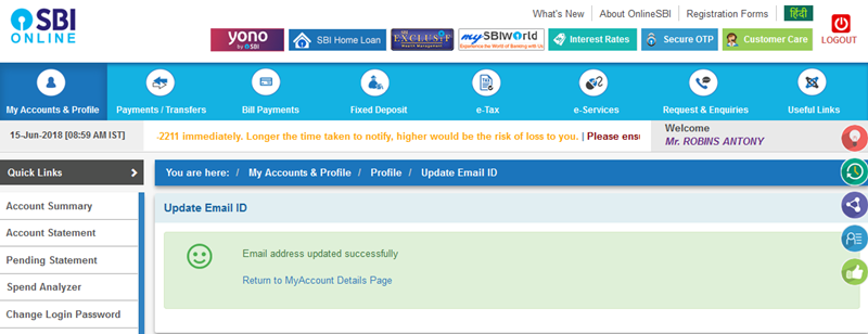 SBI email address updated successfully