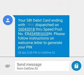 SBI ATM Card Speed Post Tracking