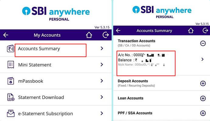 SBI Anywhere App Balance checking