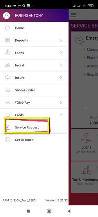 SBI YONO Service Request Menu