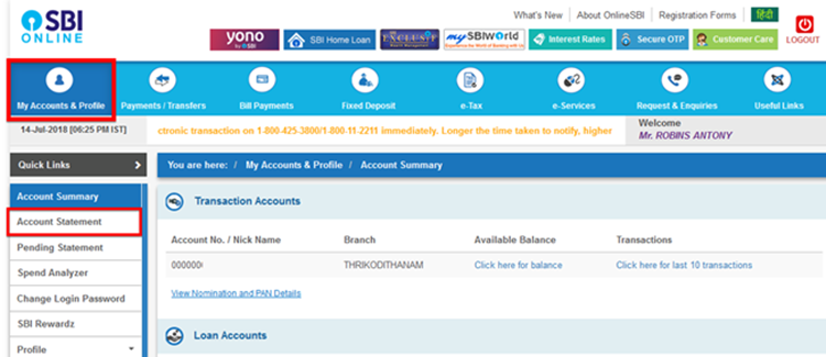 How to get SBI account statement