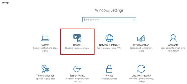 Open Windows settings in Windows 10