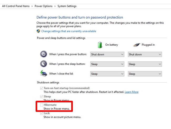 enable hibernate in windows 10 using power options