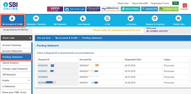 Download pending statement SBI