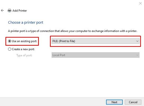 add a printer- port print to file