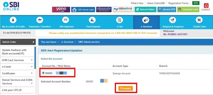 Select the SBI account for sms registration