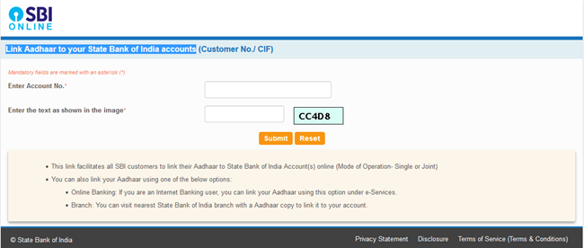 Link Aadhaar to your State Bank of India accounts