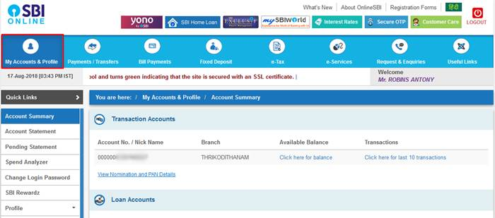 Online SBI My Accounts and Profile