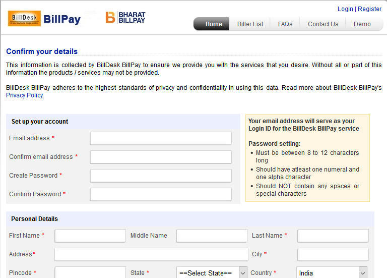 BillDesk Bill pay registration process