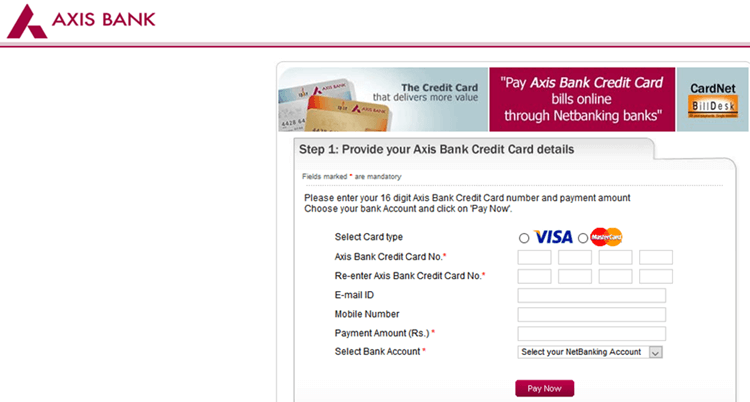 axis bank credit card payment billdesk