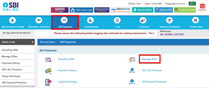SBI Credit Card Bill Payment using Online SBI