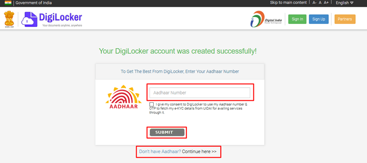 how to use digilocker without aadhar card