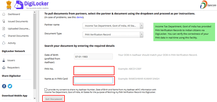 How to link Pan card with Digilocker account
