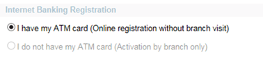 Online Internet Banking registration and activation using atm card
