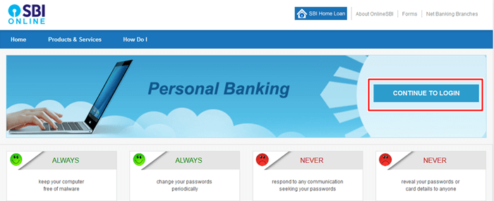 Online SBI Login to apply